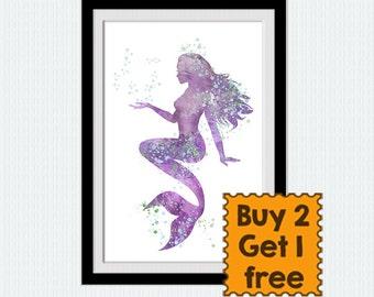 Mermaid watercolor print Mermaid wall decor Girls room decor Nursery room decor Home decoration Mermaid purple poster Aquatic creature W789