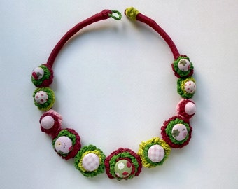 Colorful crochet necklace with buttons - pink, green, strawberry, checkered, dots, flower