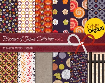Digital Papers Japanese Patterns Printable 12pcs 300dpi Digital Download Scrapbooking