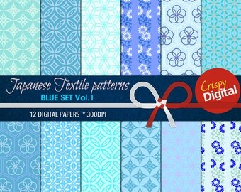 Japanese Pattern Blue and Green Digital Papers 12pcs 300dpi Instant Download Collage Sheets Scrapbooking Printable Paper