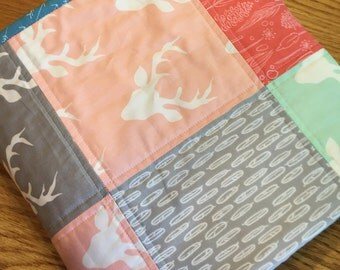 Modern Baby Girl Quilt, Deer, Bucks, Nature, Feathers, Pink, Mint, Gray, Coral, Patchwork Baby Quilt, Modern Toddler Quilt, Baby Play Mat