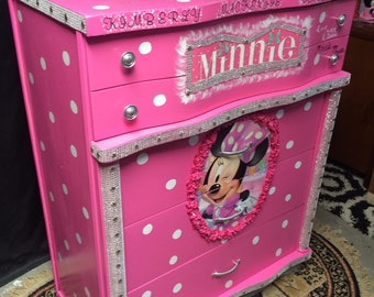 Minnie Mouse -  minnie mouse furniture - pink dresser - kids furniture - childrens furniture - girls room furniture - kids birthday