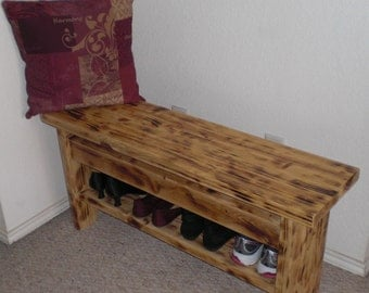 Handcrafted Farmhouse Entryway Bench with Shoe Storage Shelf / TV Stand with Shelves