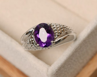 Amethyst ring, oval cut, solitaire ring, sterling silver