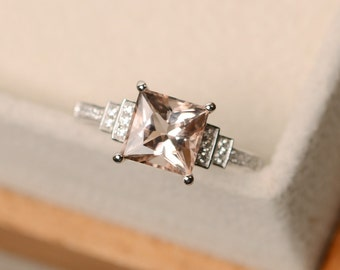 Princess cut morganite ring, silver, pink morgnaite, engagement ring