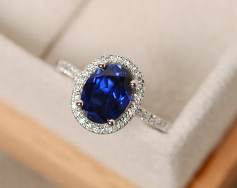 Halo engagement ring, sapphire ring, oval cut, blue gemstone, sterling silver,September birthstone