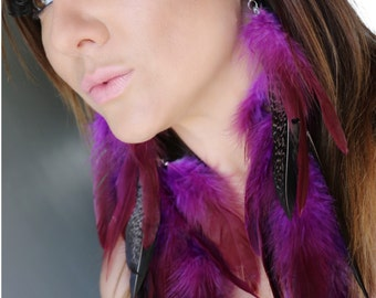 Gorgeous  purple  with  black and white polka dots  Feather Earrings,purple earrings, boho earrings, gypsy earrings, trend feathers earrings