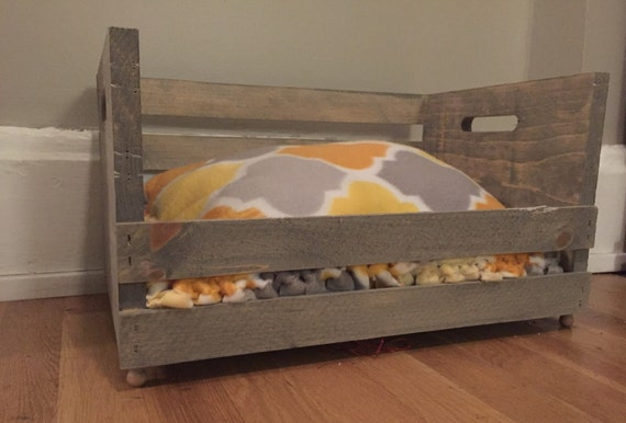 Custom made wooden crate pallet pet bed by 14thandvine on etsy for Pallet dog crate