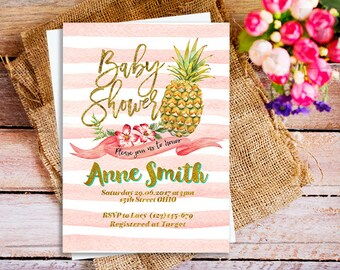 pineapple bridal shower invitation, pineapple baby shower invitation, pineapple invitation, Summer Party Invitation, Tropical Party Invites