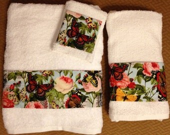 Butterfly Bath Towel Set,  Hand Towel and Washcloth - 3 Piece Set