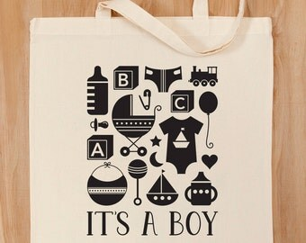 It's A Boy Tote Bag – Baby Gift – Baby Shower –Baby Tote –Baby Icons –Newborn Gift