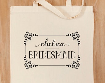 Personalized Name Framed Floral Bridesmaid Tote Bag – Bridal – Wedding Party – Custom Calligraphy Name – 2 designs