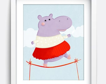 Hippo Printable Wall Art, Instant Download Printable Art, Nursery Art, Kids Wall Art, Home Decor, Wall Art, Art Prints, Illustration, Print