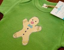 CLEARANCE // Baby Gingerbread Man 6-12 Months Onesie/Bodysuit - Organic Cotton, Unisex, Green