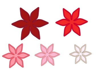 flower machine embroidery applique design, instant download - multiple sizes (5 sizes), fits 4x4, 5x5, 5x7 hoop