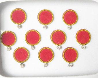 20 Red Bindi dots,Big designer bindi,velvette bindi,wedding round bindi,Online bindi,kumkum,plain bindi,Indian bridal bindi,Stone bindi dots
