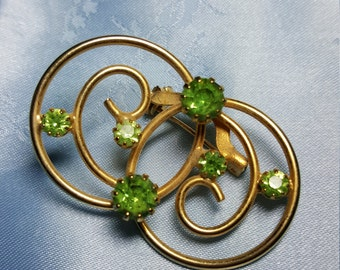 Vintage Goldtone Rhinestone Green Brooch Pin