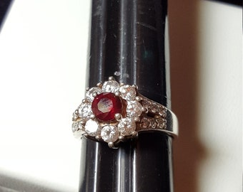 Red and Clear Stone Ring .925 Sterling silver size 8