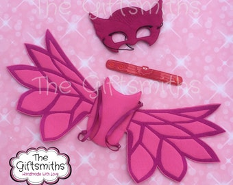Pajama Hero Owl Mask, Wings, Wristlet / Pretend Play / Party Favor / Halloween Costume / Cosplay / Photo booth / Masquerade