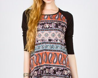 3/4 Sleeve Bohemian look Ethnic pattern Top