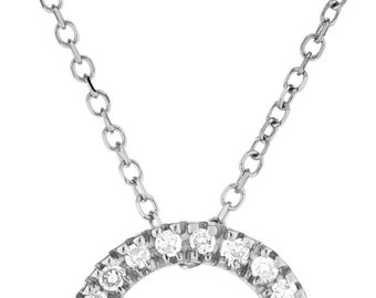 14k White Pendant 10mm with Diamond on 14kt White Gold Chain with Lobster Clasp