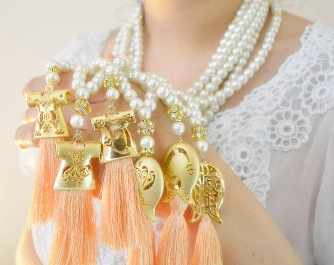 ivory Caftan rosary necklace, kaftan tassel pearl 99 beads pendant, tasbeh, masbahah, mala, tesbih red tasbeh subhah tespih praying 99 beads