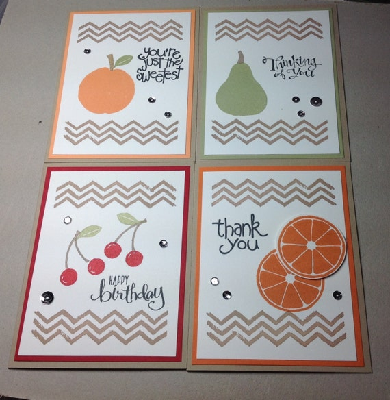Variety Pack Of 8 Greeting Cards With Fruit