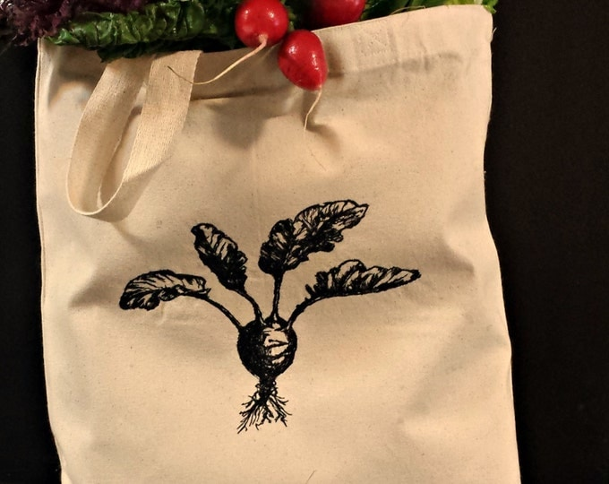 Farmer's Market Beet Embroidered Vintage Graphic Reusable Tote