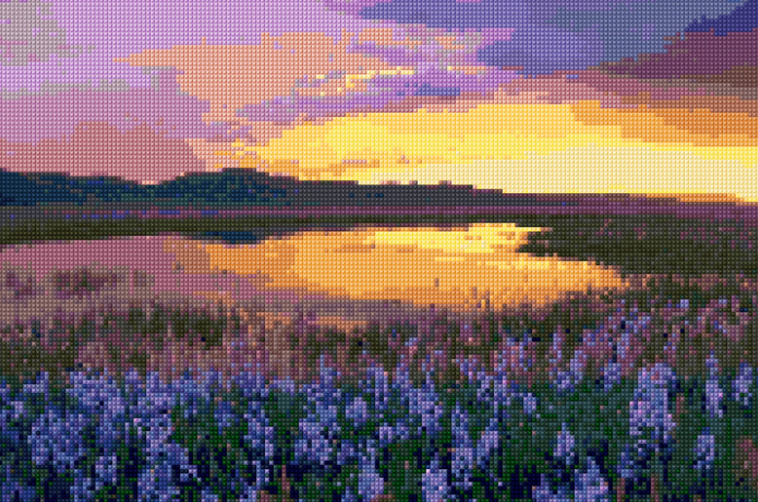 Sunset iris shoreline cross stitch pattern pdf easy chart with this is a digital file nvjuhfo Image collections