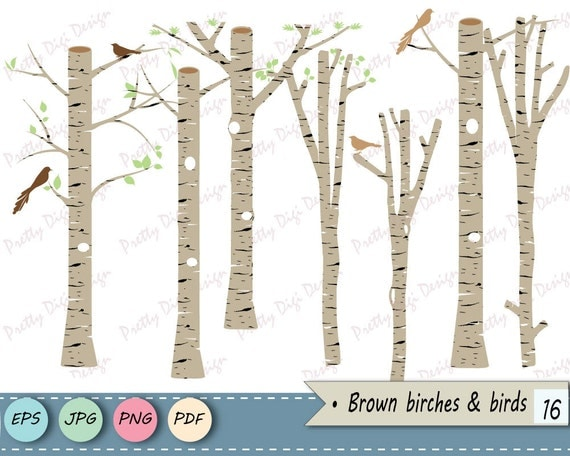 Brown birch clipart tree vector png