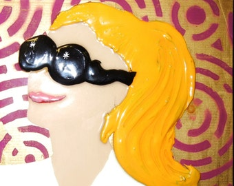 Mixed Media WOMAN WITH SUNGLASSES Artwork by Kim West