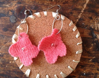 Pink sweater flower earrings
