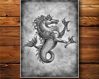 Herald Print, Mythical Decor, Horse Fish Art, Creature poster BW217