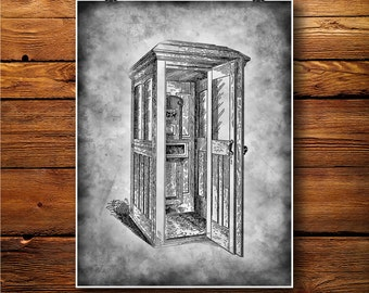 Phone Booth Print, Call poster,  Telephone Art BW127