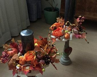 Fall Candle Centerpiece, Fall Candle Decor, Mantel Decor, Table Centerpiece, Candle Wreath Holder, Fall Decor, Thanksgiving Decor