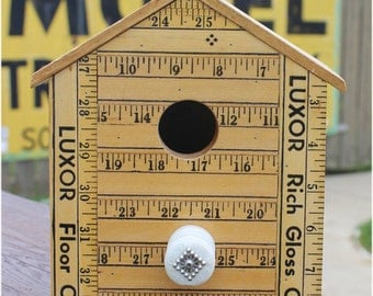 Yardstick Birdhouse, Hanging, Vintage Yardsticks Bird House, Repurpose Materials, Collectiable Yard Sticks, Hydro Insulator