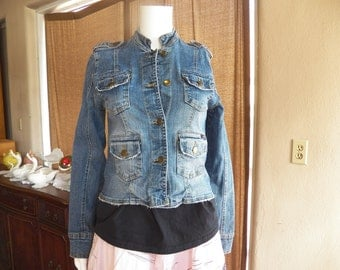 Denim Jacket Military Steampunk Size M Mandrin Collar and Shoulder Tabs Distressed