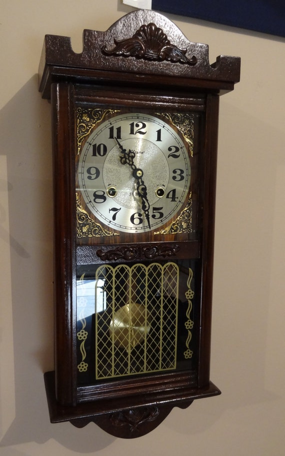 Alaron Clock 31 Day Wood Wall Clock Vintage