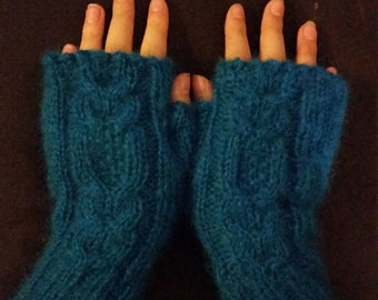 hand-knitted mohair gloves-with hidden owl