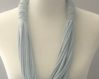 Light Blue T Shirt Necklace, Blue/Gray T Shirt Necklace, Upcycled T Shirt, Handmade T Shirt Necklace, Multi-Strand T Shirt Necklace