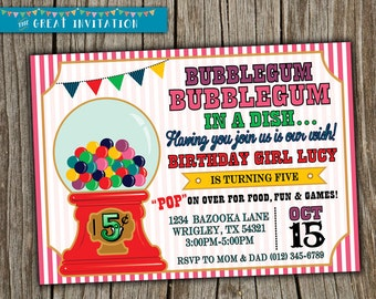Bubblegum Party Invitation/ Bubblegum Birthday Digital/ Bubble gum Invite/ Bubblegum Digital Party Invite/ Bubblegum theme party