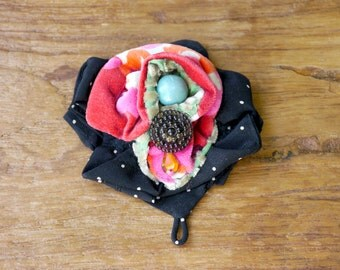 Gorgeous polka dot , printed velour, fabric flower, button brooch pin.JC4-711