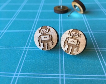 Wood Robot Stud Earrings - Robot Earrings - Wood Earrings