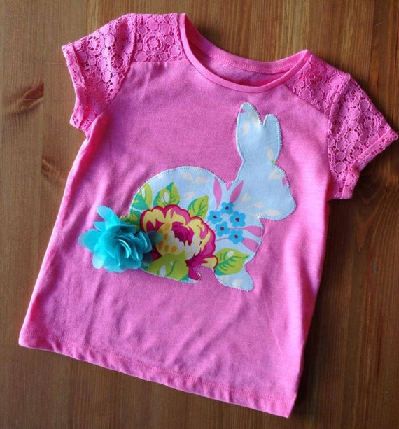 Easter Bunny Fluffy Tail, Tulle, Organza Flower, Girl Spring Tee
