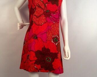 Vintage orange and pink mini dress, sleeveless 60's dress, Asian collar, bright floral print dress, boho mini dress, mod dress
