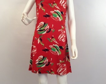 Vintage updated 70's mid dress, red multi dress, sleeveless mini, graphic printed red dress, summer dress