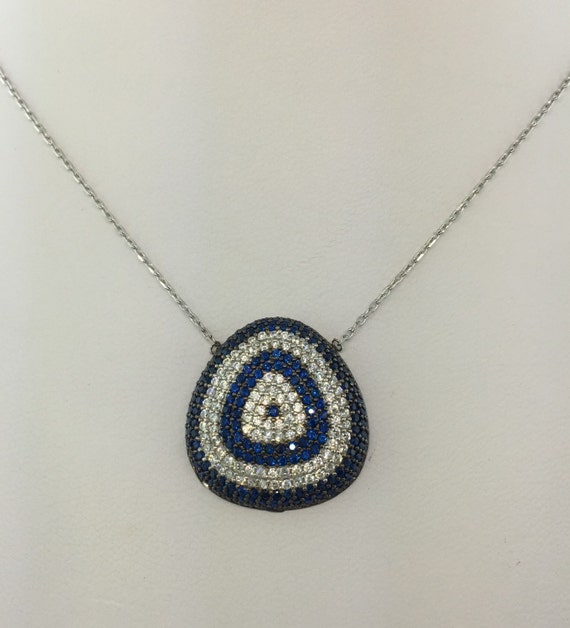 Sterling Silver 925 Evil Eye Necklace with Black and Blue CZ