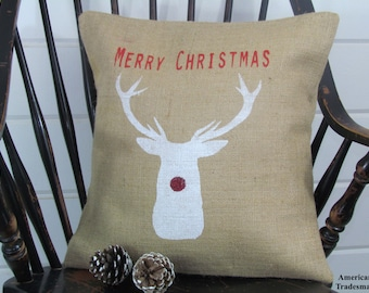 Merry Christmas Burlap Pillow, Rudolph, Holiday Decor, Christmas Pillow