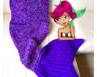 Childrens Mermaid Tail Blanket, Crochet Mermaid Blanket, Crochet Mermaid Afghan