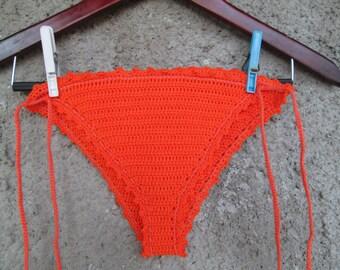 Crochet bottom bikini, Orange bottom bikini, Crochet bikini